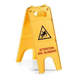 Panneau de signalisation jaune ATTENTION SOL GLISSANT (réf: 0708614) Image
