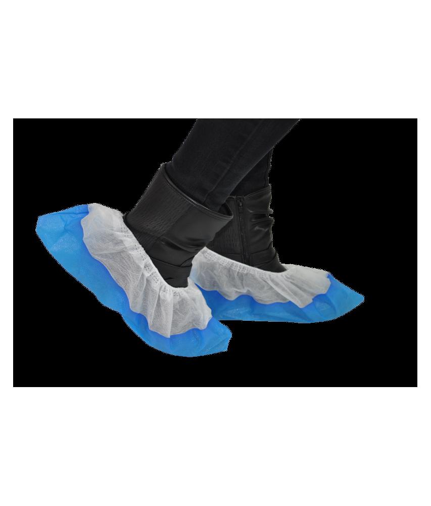 Surchaussure PLP non tissé blanche avec semelle bleue Image